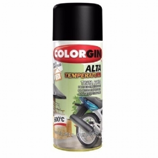Tinta Spray Alta Temperatura Preto Fosco 300ml Colorgin 5722
