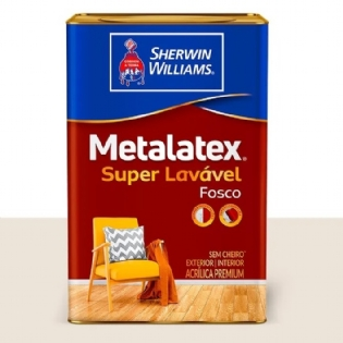 Tinta Acrilico Fosco Super Lavavel 18L Branco Neve Metalatex Sherwin Williams
