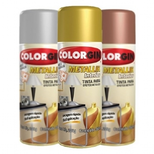 Kit 3 Sprays Metallik Colorgin - 1 Ouro + 1 Prata + 1 Cobre