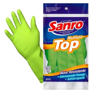 Luva Latex Verde Sanro Top Multiuso Forrada Medio